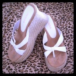 White and Tan Wedges. Brand is Soda. Size 9